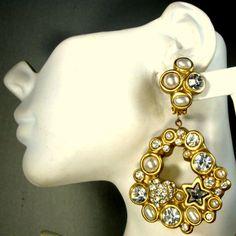 Giant JEWELLIANs Clip Dangle Earrings 1980's by VintageStarrBeads