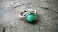 Light Green Jade Ring Wire Wrapped Ring Jade by CaravanOfBeads, $15.00