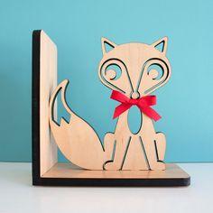 Fox Bookend: Wood Modern Baby Nursery Children