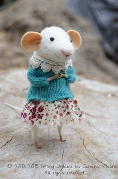 {Little Coquet Mouse-  Needle Felted Ornament - Felting Dreams by Johana Molina - READY TO SHIP}--sooo cute. Perfect for my little toddler who is OBSESSED with tiny detail on teeny things.