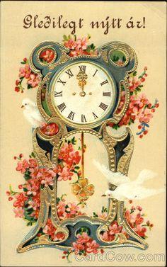 Gledilegt Njtt Az! Series 748 Clock with Doves and Pink Flowers