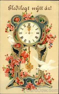 Gledilegt Njtt Az! Series 748 Clock with Doves and Pink Flowers