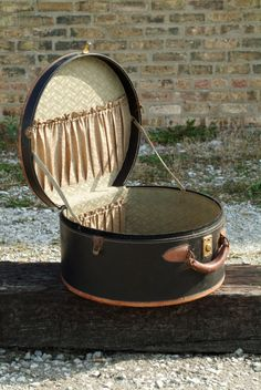 Vintage Round Suitcase Luggage PIece - Brown and Black Leather - Travel Case.