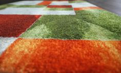 Amazon.de: DECO-MAT │ MODERNE / GRÜN-GRAU-ORANGE │ Rutschfeste Fussmatte / Türmatte 40 Modern, Contemporary, Designer, Orange, Rugs, Home Decor, Yellow, Farmhouse Rugs, Trendy Tree
