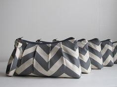 Grey Chevron Bridesmaid Wristlets / Gift Set by maddiekayhandbags, $110.00