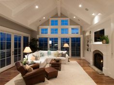 recessed lighting for vaulted ceilings family room corner sofa fireplace