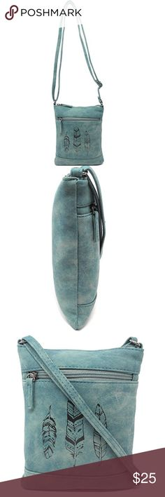 Faux Leather Teal Feather Crossbody Bag Small Pocket Book Style Cross Body Handbag with Hippy Feathers Etching on Front Measures 8 inches Tall x 6.5 inches Wide. Fits Small On-The-Go Items: Phone, Keys, etc. Created from Soft Distressed Style Faux Leather with Skinny Adjustable Strap up to 24 inch Drop, Comfortably Carry Across the Body or Over the Shoulder Organizing Features: Front Zip Pocket 4 inches Deep and 5 inches Wide. Interior Zip Pocket Measures 4 Inches Wide by 4 Inches Deep…
