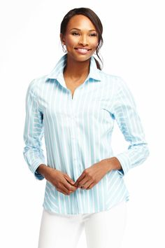Foxcroft Non-Iron Mixed Sateen Stripe Blouse | Foxcroft Clothing