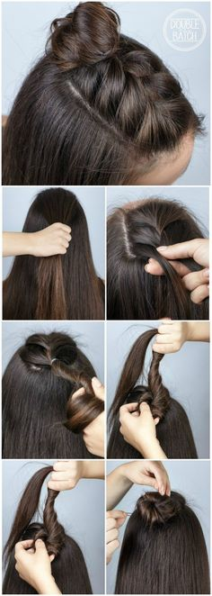 mohawk braid into top knot half-updo for medium to long hair