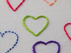 Rainbow Hearts embroidery framed in hoop by Hextrovert, Rainbow Heart, Hoop, My Etsy Shop, Cross Stitch, Hearts, Crafting, Kids Rugs, Embroidery, Frame
