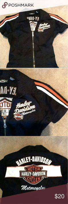 Harley Davidson Ladies Retro Garage Shirt HD ladies motorclothes. Retro classic style garage shirt. Zippered front. Embroidered logo design front and back. Gently worn, excellent cond. No fading. Size small but fits more like a medium Harley-Davidson Tops Blouses