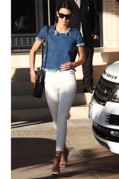 trapped denim top with simply white in December 26, 2014 by Kendall
