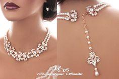 Bridal backdrop necklace ROSE GOLD crystal wedding necklace Swarovski pearl necklace vintage style necklace statement necklace 2177RG