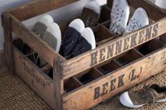 organize shoes with an old soda or milk crate