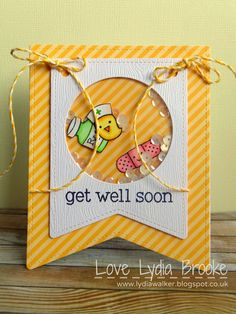 Lawn Fawn - Get Well Soon, Stitched Party Banners Lawn Cuts dies, Let's Polka paper, Lemon Lawn Trimmings _ cheerful Get Well shaker card Karten Diy, Lawn Fawn Stamps, Shaker Cards, Get Well Cards, Card Making Inspiration, Copics, Sympathy Cards, Card Tags, Creative Cards