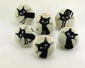 Black Cat/ Button / Pushpin / Flat Back /  Magnet / Fabric Covered Button Cat Natural Japanese Fabric 61
