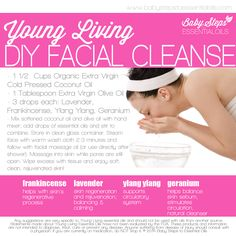 Young Living Essential Oils: Facial Cleanse. I cannot say enough about the benefits to using essential oils in your skin care regime! Love them :) if youd like to order or learn more --> https://www.EssentialOilsObsessed.com