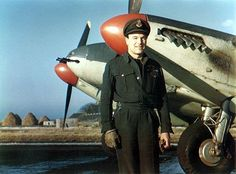 Group Captain Max Aitken beside his Mosquito at RAF Banff