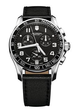 Victorinox Swiss Army® 'Chrono Classic' Leather Strap Watch available at Nordstrom Daniel Wellington, Swatch, Swiss Watches For Men, Victorinox Swiss Army, Classic Leather, Black Leather, Soft Leather, Stainless Steel Bracelet, Quartz Watch