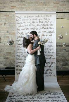 written vows wedding backdrop Wedding Ceremony Ideas, Diy Wedding Backdrop, Ceremony Backdrop, Diy Wedding Decorations, Budget Wedding, Wedding Blog, Wedding Planning, Dream Wedding, Wedding Day