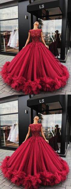 Red Tulle Appliques Ball Gown Prom Dress, Sweet 16 Dresses,Quinceanera Dresses #ballgown #red #princess #flowers #long #okdresses