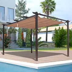 Celebrate good weather with the UV and water-resistant Outsunny 10 x 13 ft. Aluminum Patio Pergola on your patio. The black aluminum frame has an adjustable brown polyester canopy on top. Be sure to assemble this pergola before using. Curved Pergola, Cheap Pergola, Wooden Pergola, Backyard Pergola, Pergola Ideas, Patio Roof, Metal Pergola, Black Pergola, Courtyards