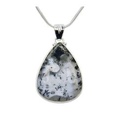 Large Dendritic Opal Pendant  925 Sterling Silver Necklace
