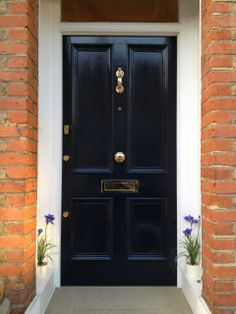 A Victorian four panel front door, in Farrow & Ball 'Railings' paint (front door option)