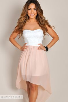 """Grace"" White Lace & Peach Pink Chiffon Strapless High Low Dress"