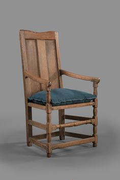 Augusta or Shenandoah County Virginia, 1740-1770, walnut, HOA: 44; WOA: 23 1/2; DOA,MESDA #2026. The earliest furniture forms of the southern Backcountry usually are associated with German settlements. The chair is walnut throughout, whereas American coastal wainscot chairs of the seventeenth century were made of oak. This chair was found near Lexington, Virginia, in the southern portion of the Valley.