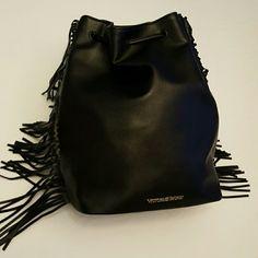 VICTORIA'S SECRET BLACK FRINGE BAG Black leather bag with fringe and backpack-like straps. Victoria's Secret Bags