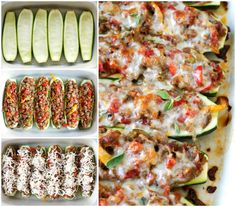 Sausage, Pepper, and Onion Stuffed Zucchini Boats | thetwobiteclub.com | #JDFamilyTable #ad