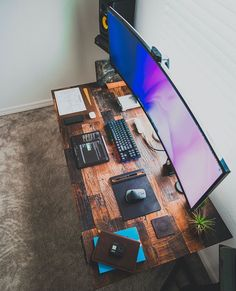 Office Desk Setup Home - Office Computer Gaming Room, Computer Desk Setup, Gaming Room Setup, Gaming Rooms, Setup Desk, Home Office Setup, Home Office Design, Office Desk, Ikea Office