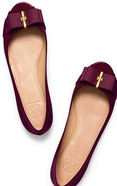 These are so pretty. I have a pair of black flats that have a gold buckle so these are something similar I would gravitate towards.  Tory Burch Trudy Patent Open-toe Demi Wedge