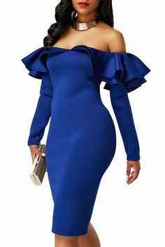 Women Party Dress Off Shoulder Ruffle Clubwear Dress Bodycon Dress