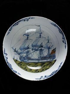 No. 151    Bowl  Place of origin: Liverpool, England (made)  Date:ca. 1765-1770 (made)  Artist/Maker: Jackson, William (possibly, painter (artist))  Materials and Techniques: Tin-glazed earthenware painted with enamels    V Museum. World of Ceramics