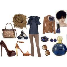 Mocha and dark teal elegance, love the tan leather jacket  :) - Polyvore
