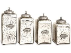 Numbered Mercury Glass Jars w/ Lids (Set of - IMAX your decor with this eye-catching addition. This decorative set of four mercury glass jars feature intricately detailed lids and numbered metal emblems cast with vintage style writing. Glass Containers With Lids, Food Storage Containers, Jar Storage, Kitchen Containers, Glass Canisters, Kitchen Canisters, Decorative Accessories, Decorative Boxes, Decorative Glass