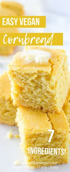 This easy vegan cornbread is amazing! Simple to make and perfect for pairing with your favorite dishes. This cornbread makes for the perfect side dish! Vegan Corn Bread Recipe, Vegan Cornbread, Vegan Bread, Vegan Butter, Delicious Vegan Recipes, Vegetarian Recipes, Cooking Recipes, Vegan Foods, Vegan Desserts