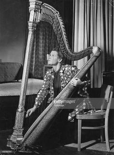 British harpist Sidonie Goossens (1899 - 2004), 1940.