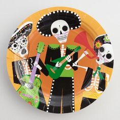 Day of the Dead Paper Plates Set of 12 | World Market : day of the dead dinnerware - pezcame.com