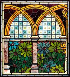 Antique American Victorian Stained Glass Window AE529