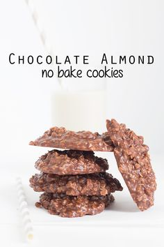 Chocolate Almond No Bake Cookies #ad
