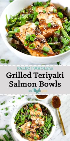 These grilled teriyaki salmon bowls are Paleo and made gluten-free, dai.These grilled teriyaki salmon bowls are Paleo and made gluten-free, dairy-free, soy-free and refined sugar-free. An easy and healthy summer dinner! Paleo Dinner, Healthy Dinner Recipes, Healthy Dinners, Sugar Free Recipes Dinner, Gluten Free Dinner, Grilled Teriyaki Salmon, Clean Eating Snacks, Healthy Eating, Healthy Food