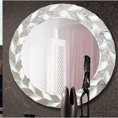 Canora Grey White Elegance 2.8m x 400cm Wallpaper & Reviews | Wayfair.co.uk Wood Framed Mirror, Wall Mounted Mirror, Beveled Mirror, Hereford, Over The Door Mirror, Overmantle Mirror, 3d Wallpaper For Walls, White Elegance, Circular Mirror