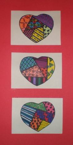 Learn to Teach.Teach to Learn.: Romero Britto Inspired Pattern Hearts - Gr 5