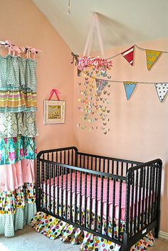 eleven22designs: love the ruffle curtain & butterfly mobile - So cute!!