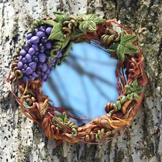 Polymer Clay and Mixed Media Together at Last... grape vine wreath on mirror for the @FriesenProject by Laurie Grassel