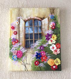 Janela florida - Tela 40x50cm, pintura com tinta PVA e acrílica, textura com massa acrílica e flores de crochet.