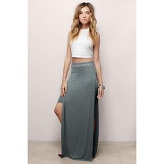 Tobi Layered Up Maxi Skirt ($48) ❤ liked on Polyvore featuring skirts, grey, double layer maxi skirt, long grey skirt, layered maxi skirt, side slit maxi skirt and grey maxi skirt